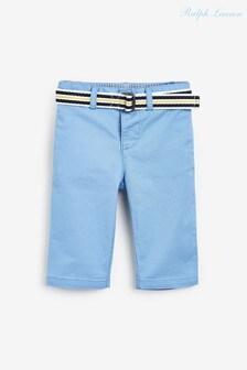 מכנסי כותנה כחולים עם חגורה של Ralph Lauren