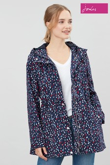 Joules Blue Shoreside Print Waterproof A-Line Coat