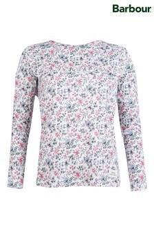חולצה לבנה פרחונית שלBarbour®/Laura Ashley דגם Douglas עם מלמלה