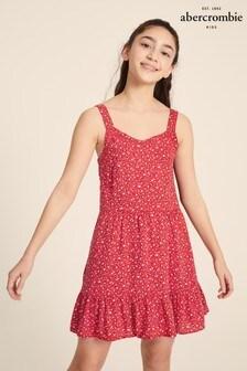 Abercrombie & Fitch Gestuftes Kleid mit Blumendesign, Rot