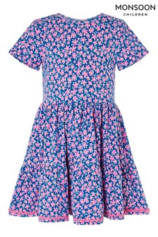 Monsoon Pink Geo Flower Jersey Dress With Organic Cotton