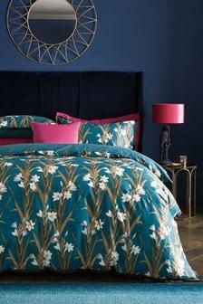 Komplet pościeli z 100% bawełny satynowej w lilie: poszwa na kołdrę i poszewka na poduszkę