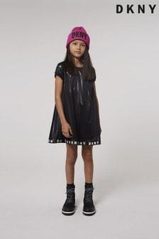 Черное сетчатое платье DKNY