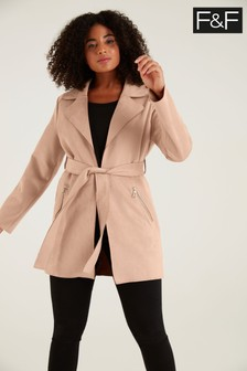 F&F Belted Suedette Neutral Jacket