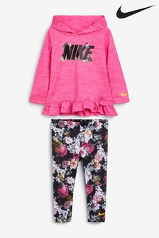 Nike Infant Pink Floral Hoody And Leggings Set