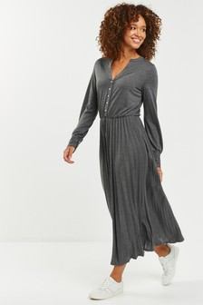 Pleat Midi Dress