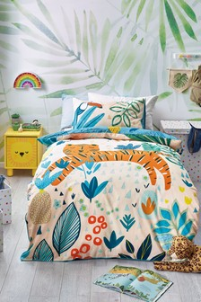 Bright Tiger Reversible Duvet Cover and Pillowcase Set