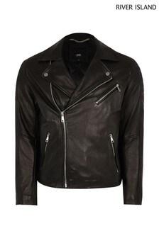 River Island Black Real Leather Biker Jacket