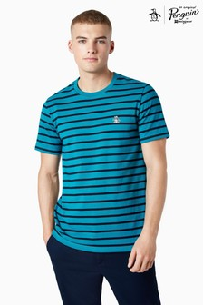 Original Penguin® Blue Breton Stripe Sticker Pete Short Sleeve T-Shirt