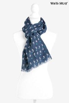 Niebieski szalik z bawełny i lnu White Stuff Lori