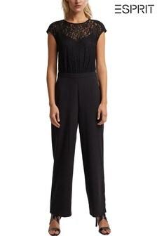 Esprit Womens Black Lace Jumpsuit