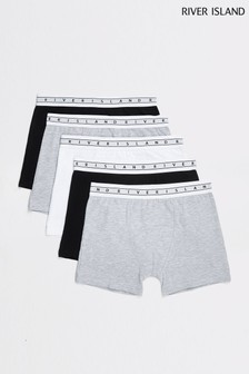 River Island Grey Mono Boxers Five Pack