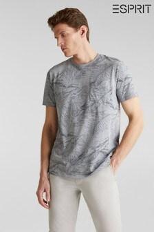 Esprit T-Shirt mit Blattmuster, Grau