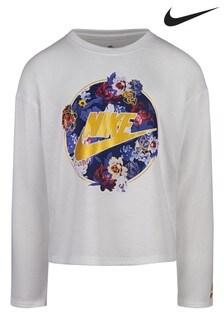 חולצת טי פרחונית עם שרוול ארוך של Nike לילדים קטנים