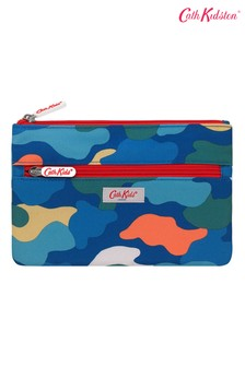 Cath Kidston® Blue Camouflage Kids Double Zip Pencil Case