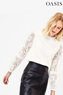 Oasis White Lace Long Sleeve Blouse