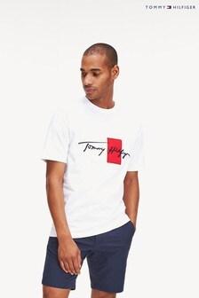 Tommy Hilfiger T-Shirt mit Box-Logoschrift, Weiß