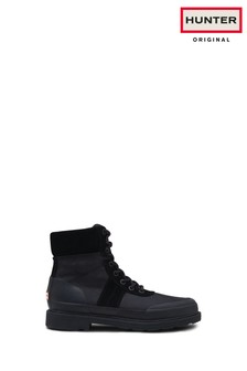 Hunter Black Original Insulated Lace-Up Boots