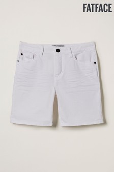 מכנסי ג'ינס קצרים של FatFace בלבן