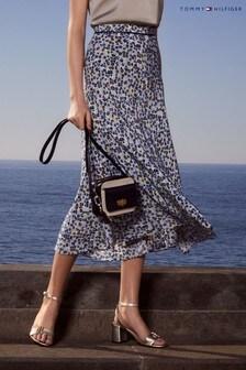 Tommy Hilfiger Blue Floral Print Bias Skirt