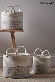 Set of 3 Cox & Cox Woven Fabric Baskets