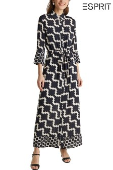 Esprit Black Elegant Belted Maxi Dress