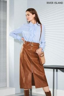 River Island Brown Zip Front Midi Skirt