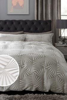 Set mit Bettbezug und Kissenbezug aus Jacquard mit Fächerdesign