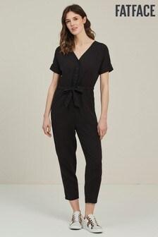 FatFace Black Rhio Linen Blend Jumpsuit