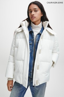 Calvin Klein Jeans Cream Eco Down Quilted Jacket