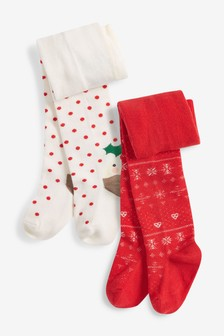 2 Pack Christmas Pudding Tights (0mths-2yrs)