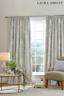 Laura Ashley Dove Grey Josette Pencil Pleat Curtains