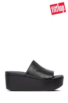 FitFlop™ Black Eloise Croc-Print Wedge Slides