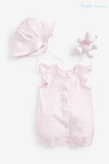 Ralph Lauren Pink Gingham Sleepsuit Two Piece Gift Set