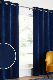 Navy Blue Soft Velour Eyelet Blackout/Thermal Curtains
