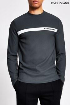 River Island Maison T-Shirt mit Blockfarben auf der Brust, Grau