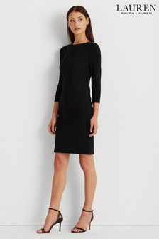 שמלה שחורה של®Lauren Ralph Lauren דגםRomee בעיטור כפתור נמתח