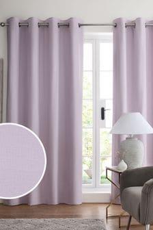 Сиренево-пурпурные хлопковые затемняющие шторы с термопрокладкой и люверсами