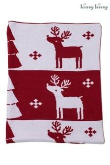 Kissy Kissy Red Christmas Fairisle Blanket
