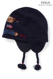 Ralph Lauren Navy Bear Trapper Hat