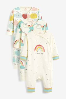 3 Pack GOTS Organic Rainbow Apple Footless Sleepsuits (0mths-3yrs)