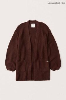 Abercrombie & Fitch Burgundy Puff Sleeve Cardigan
