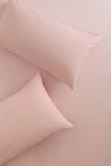 Set of 2 Pink Easy Care Polycotton Pillowcases