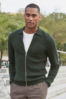 Knitted Zip Through Polo