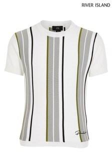 River Island White Multi Stripe T-Shirt