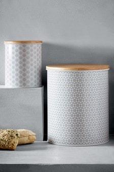 2件組Mila菱形圖案麵包罐及點心罐