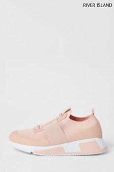 Pantofi sport de alergare cu barete River Island Fly Knit roz