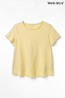 חולצת טי עם שסע בגב של White Stuff דגם Herb Garden בצהוב