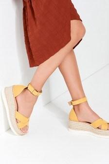 Cross Over Espadrille Wedge Sandals