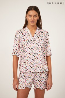 Warehouse White Brushstroke Pyjama Shirt